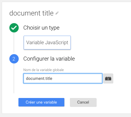 Variable javascript google tag manager