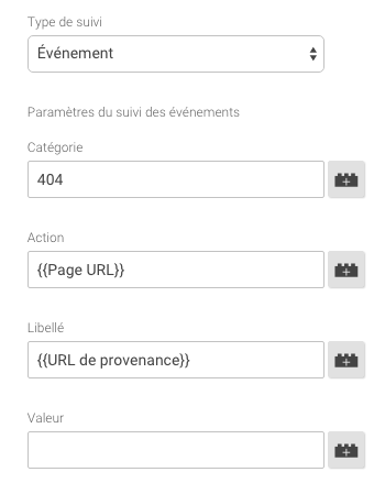 évenement 404 tag manager