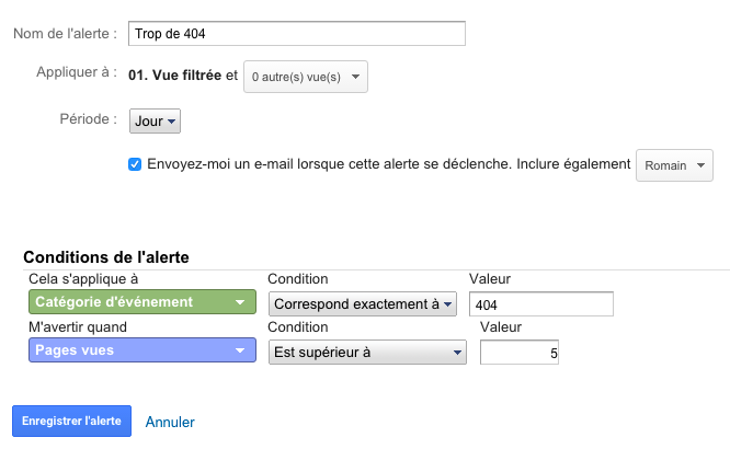Alerte 404 Google Analytics